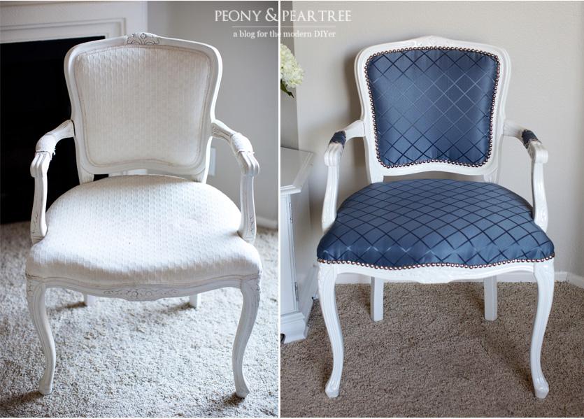 DIY: Reupholstered Craigslist Chair using CURTAINS!