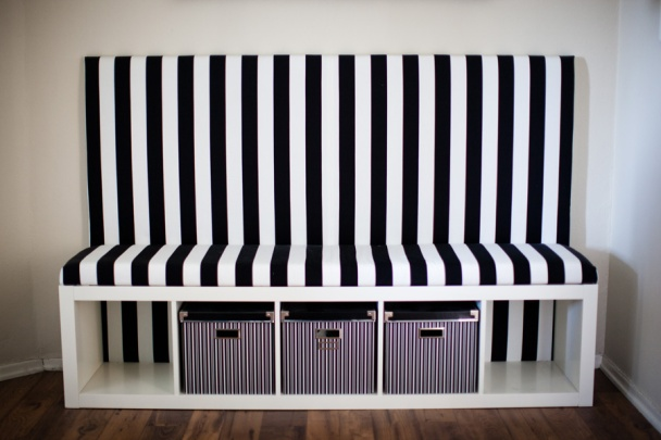 Striped DIY Banquette- Ikea Hack