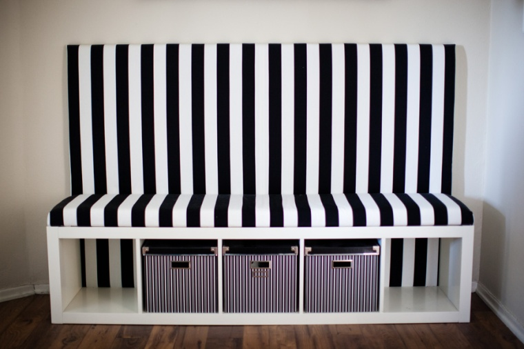 Striped DIY Banquette-Ikea Hack