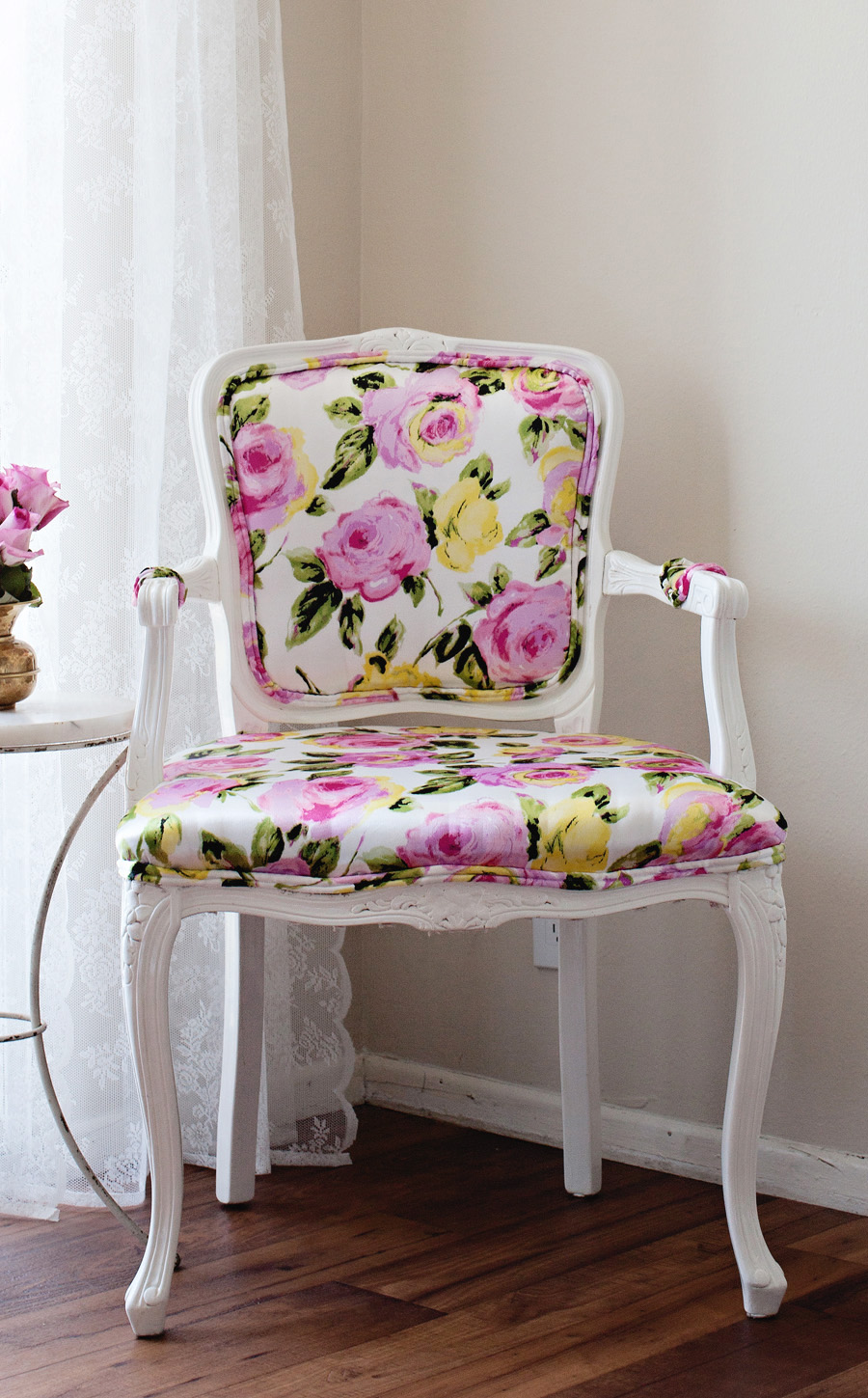 diy i reupholstered our bergere chair with florals oooolala double