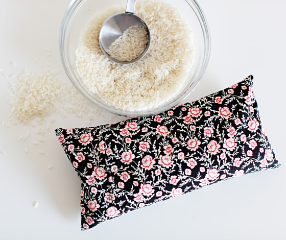 DIY Rice Heating Pad with removable cover