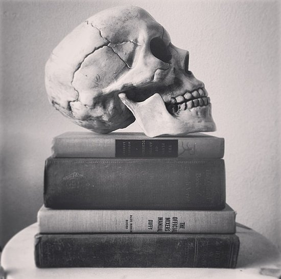 Skull and vintage books