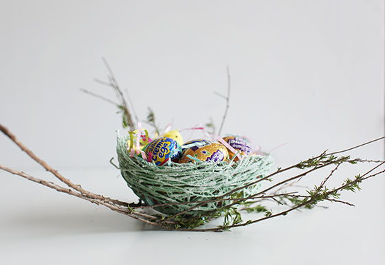 DIY Sugar String Easter Nest