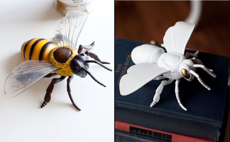 Turn plastic toy bugs into home accessories with spray paint