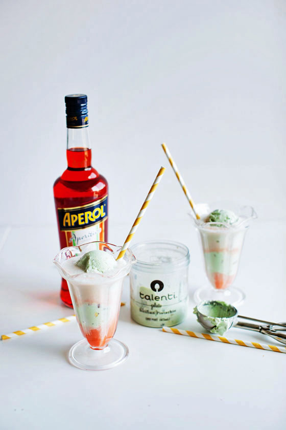 Aperol Pistachio Ice Cream Soda