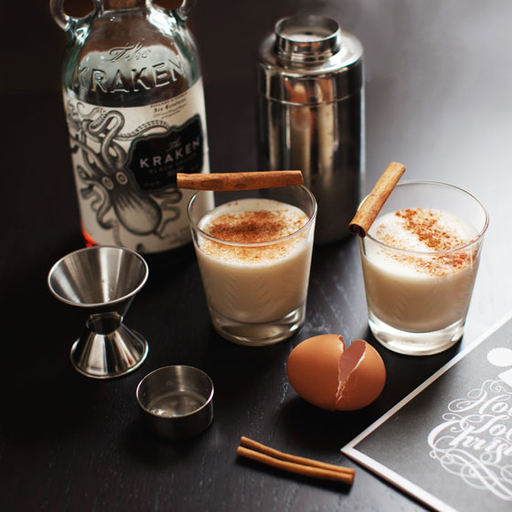Classic Spiced Rum Eggnog Cocktail