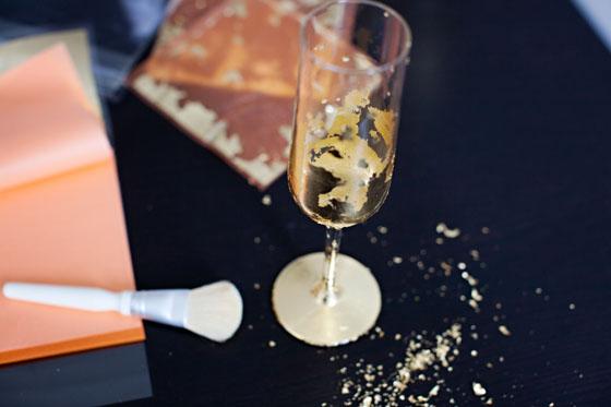 DIY Gold Leafed Champagne Flutes