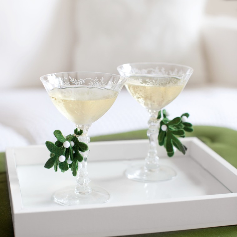 DIY Mistletoe Glass Stem Decorations