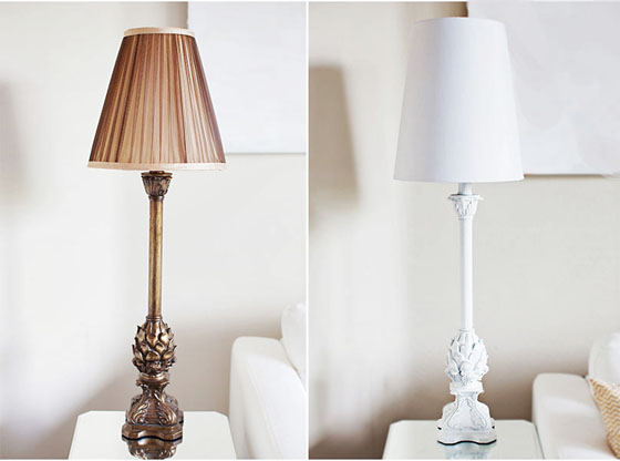 $15 Lamps from Ross - Before and After - What a difference spray paint makes!
