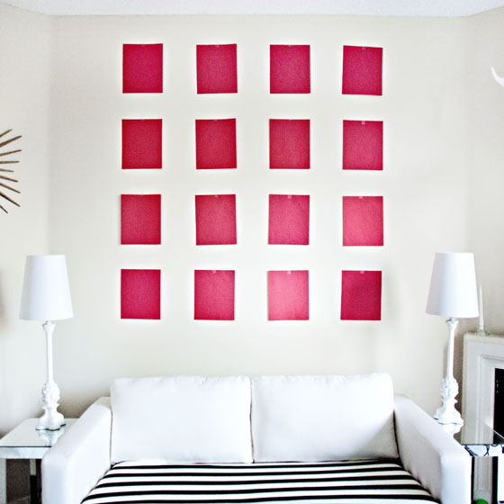 Gallery wall tip - Use paper cutouts with nailholes marked first to get the right arrangement without putting unnecessary holes in your walls
