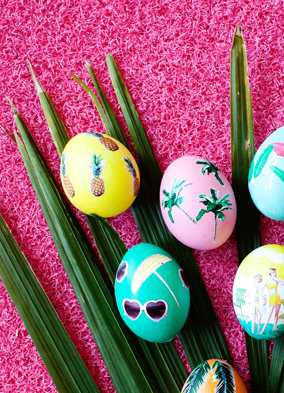 Tropical Decoupage Easter Eggs