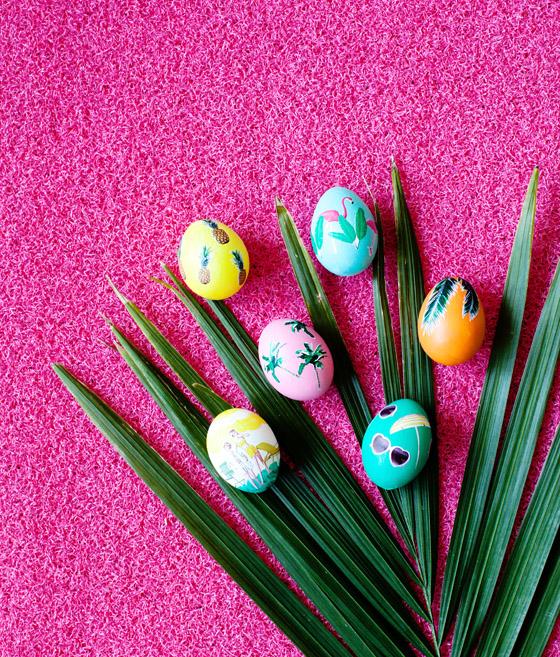Flamingo Easter Eggs Tropical Decoupage Easter Eggs