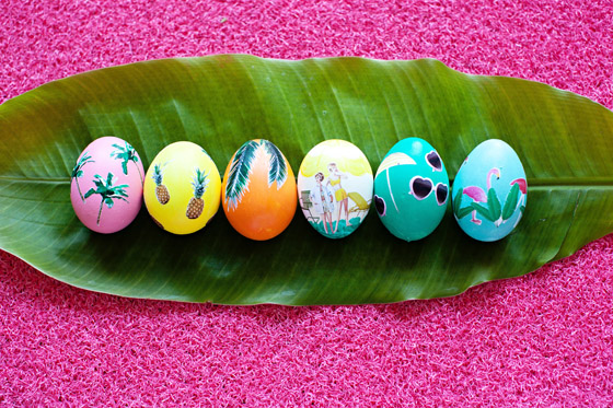 Tropical Decoupage Easter Eggs