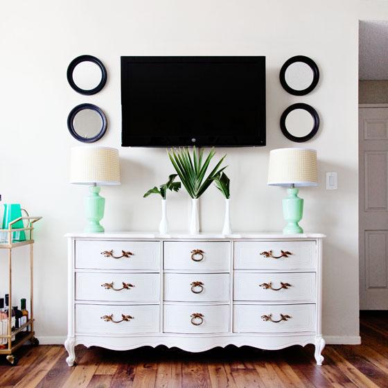 Vintage dresser as living room decor