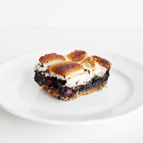 Boozy Cherry Smores Brownie Bars