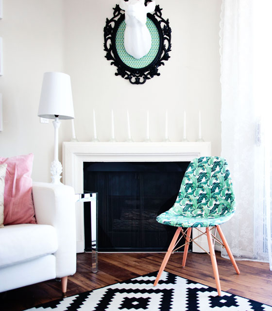 Decoupaged Banana Leaf Chair via Melodrama