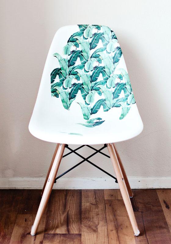 Diy decor braziliant decoupage banana leaf chair melodrama - Peinture salon de jardin plastique ...