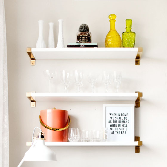 DIY Gold IKEA BJARNUM Shelves via Melodrama