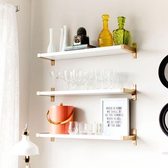 DIY Gold IKEA BJARNUM Shelves via Melodrama