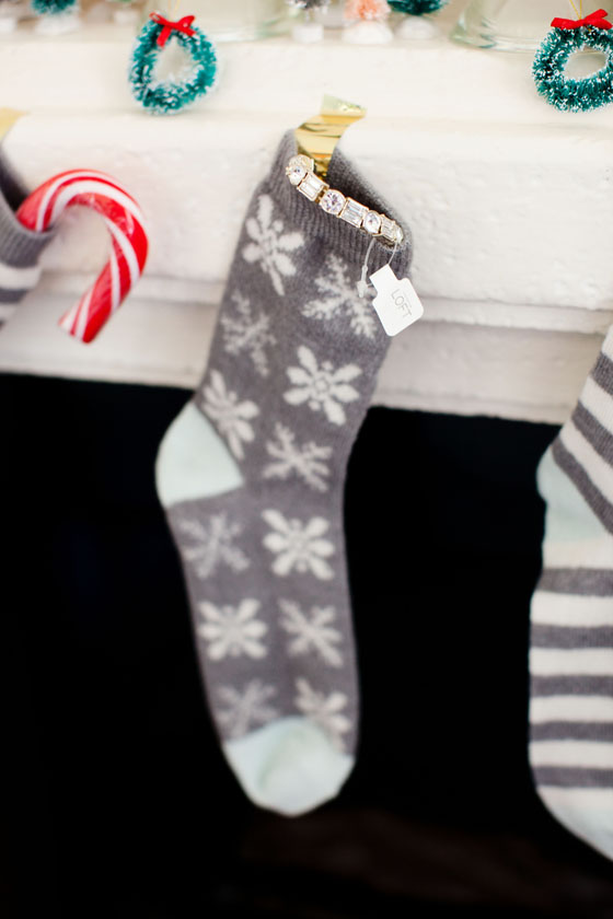Socks from LOFT used as stockings. Great gift idea!