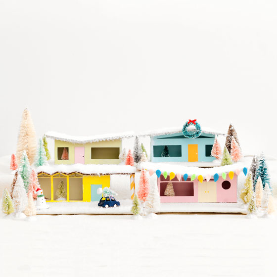 DIY Miniature Christmas Village Mid-Century Putz Houses