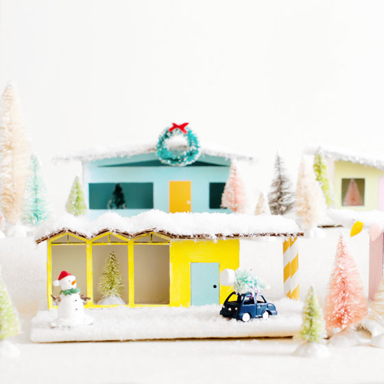DIY Christmas Village Mid-Century Putz Houses