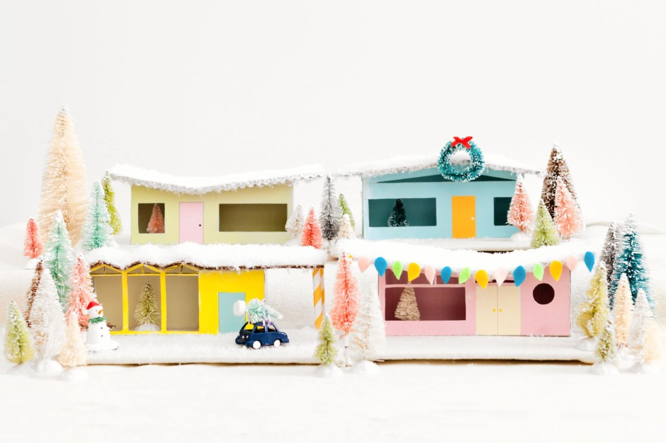 DIY Christms Village Mid-Century Putz Houses