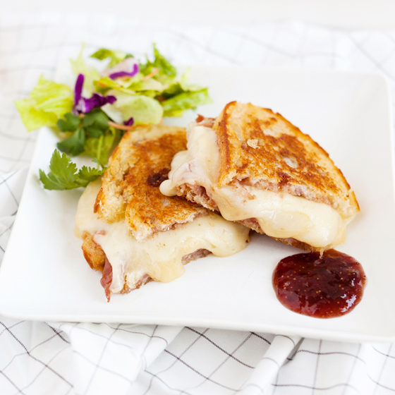 Prosciutto Fig Jam Fontina Provolone Grilled Cheese