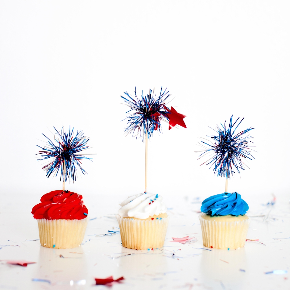 July 4th Firework Cupcake Toppers
