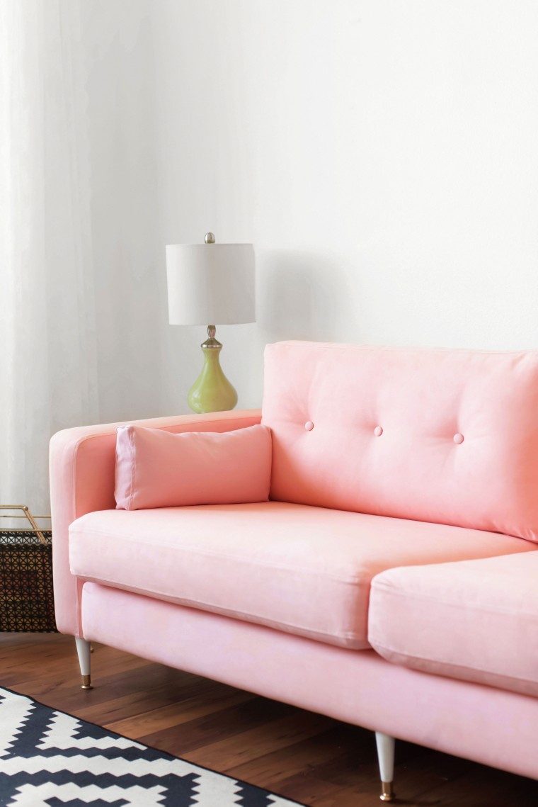 ikea hack karlstad pink mid century inspired sofa makeover melodrama. Black Bedroom Furniture Sets. Home Design Ideas