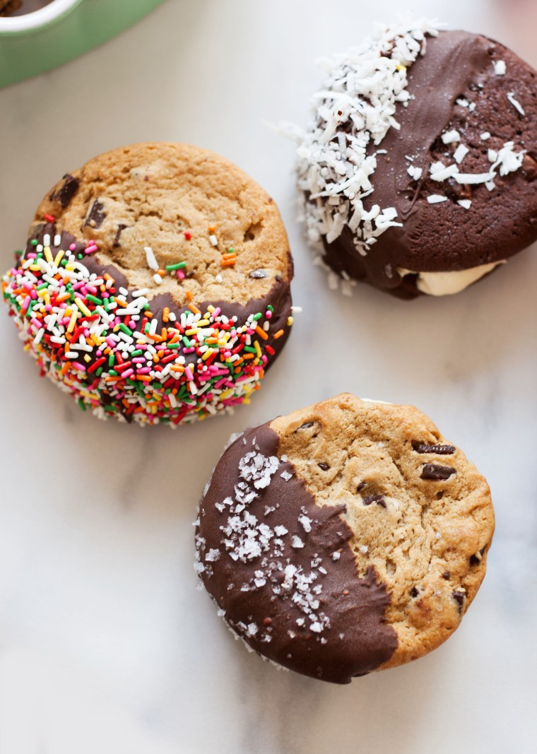 Chocolate Dipped Cookie Ice Cream Sandwiches