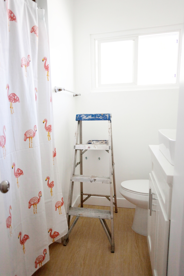 How to install peel and stick Tempaper wall paper in a bathroom (3)