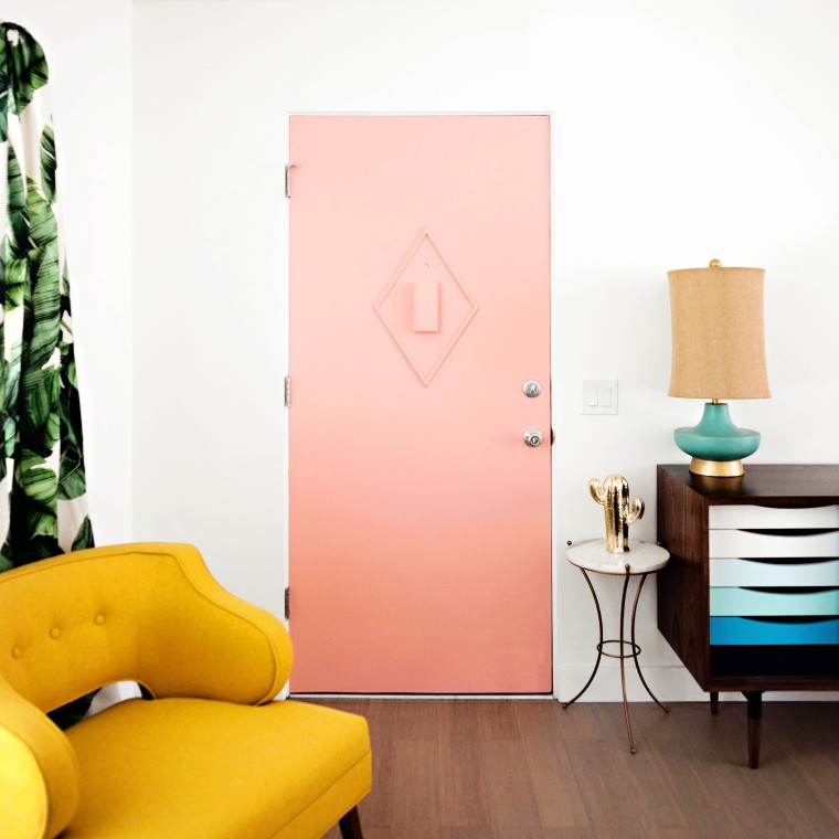 Mid-Century DIY Pink Door with Molding