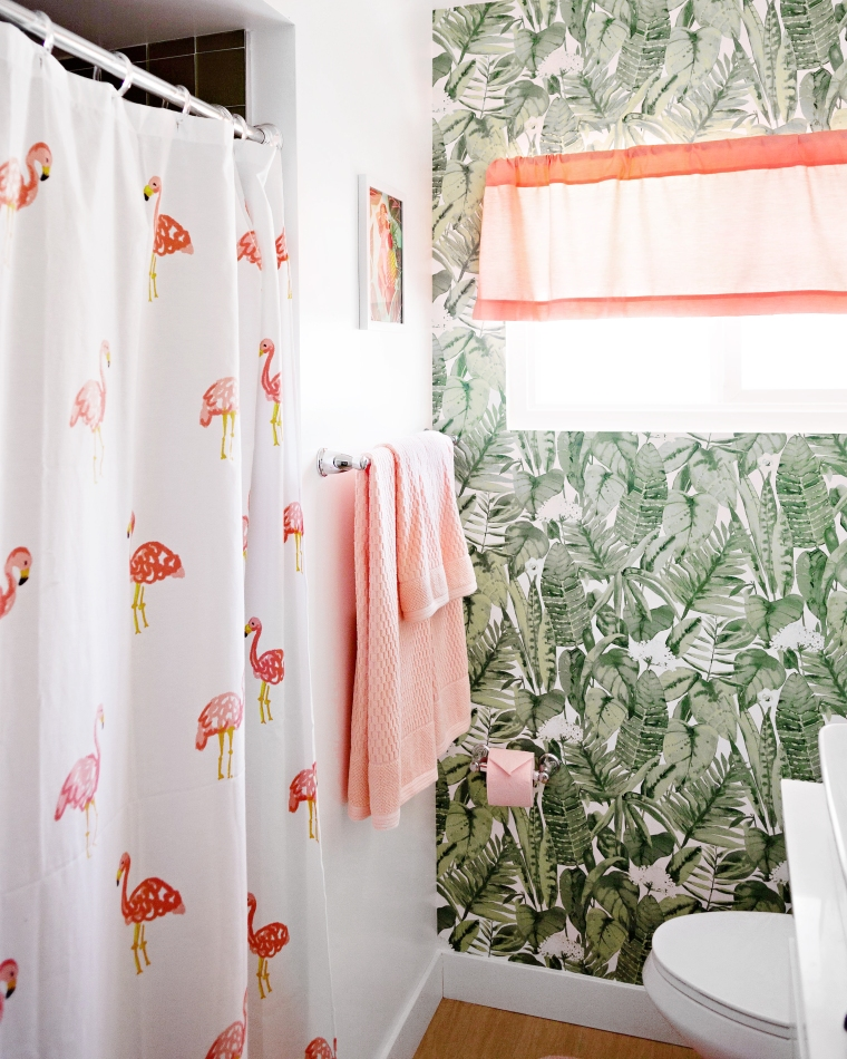 Vintage Pink and Palm Bathroom