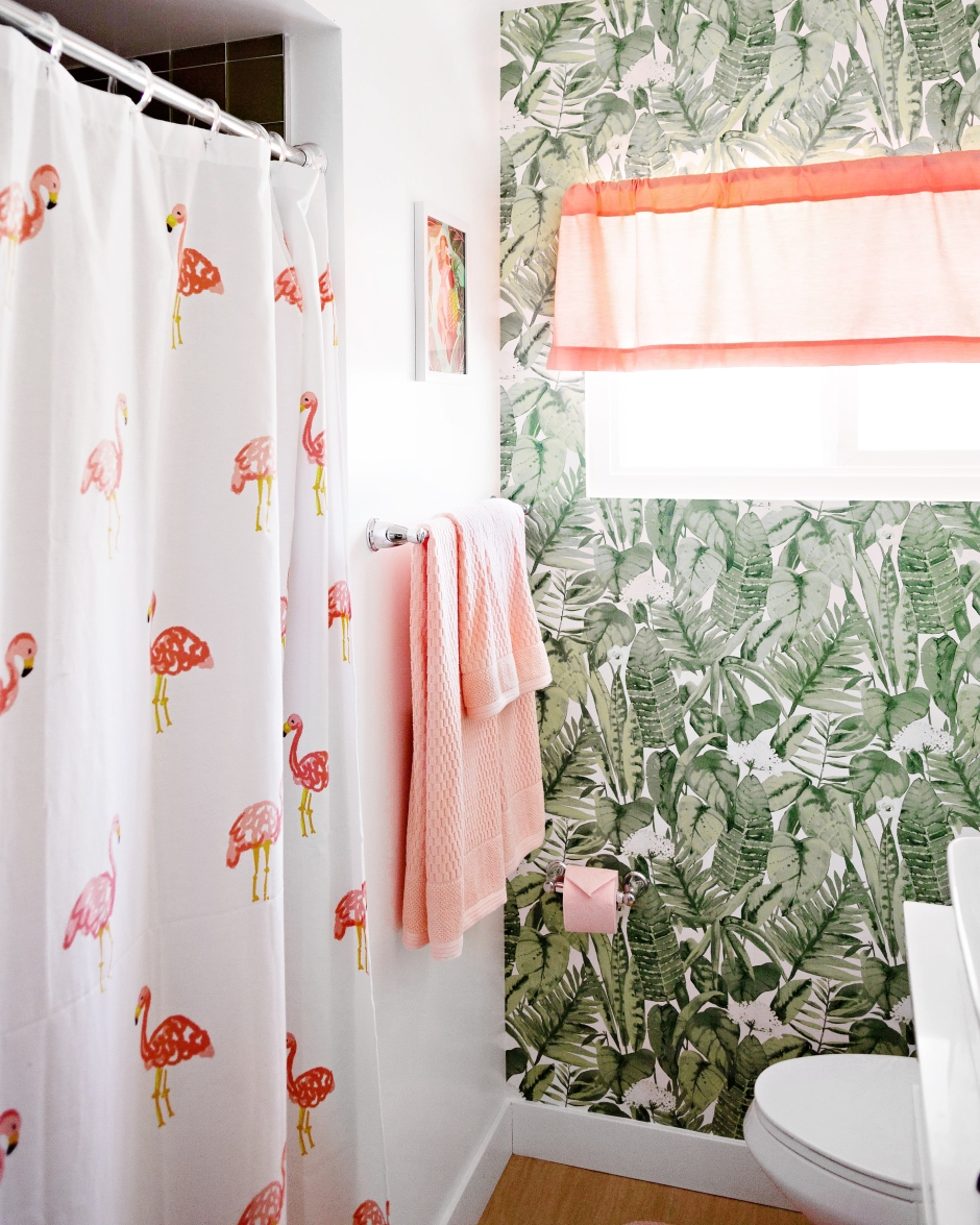 Bathroom Update DIY Dyed Curtain Valance Art And Pink Toilet Paper Melodrama