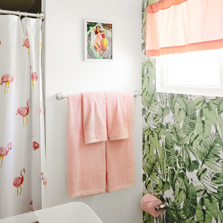 Vintage style Pink and Palm Bathroom