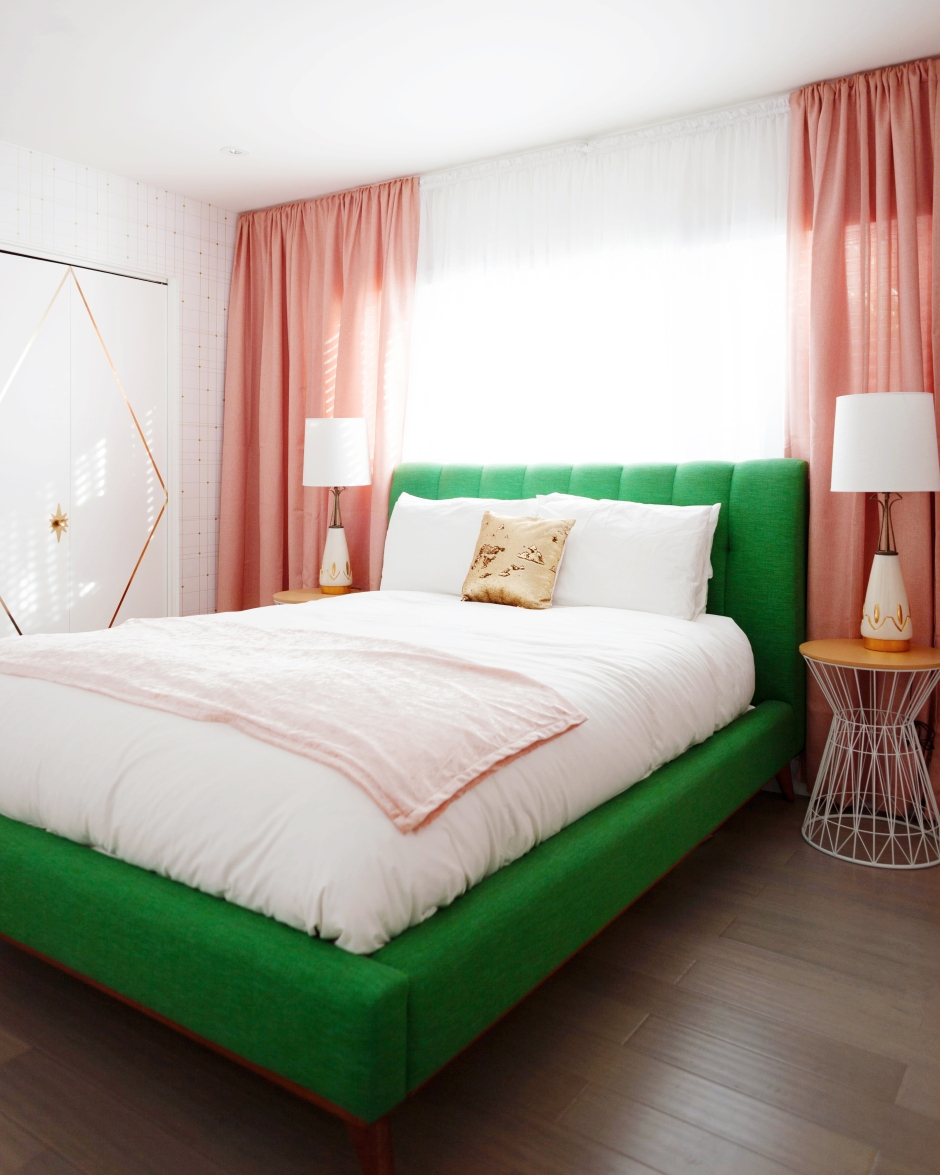 mid century bedroom our pink gold and green atomic meets glam inspired 12389