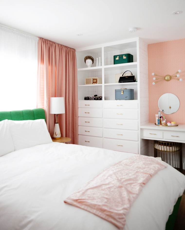 Vintage Pink and gold Bedroom. Our Pink  Gold  and Green Atomic Meets Glam Inspired Bedroom