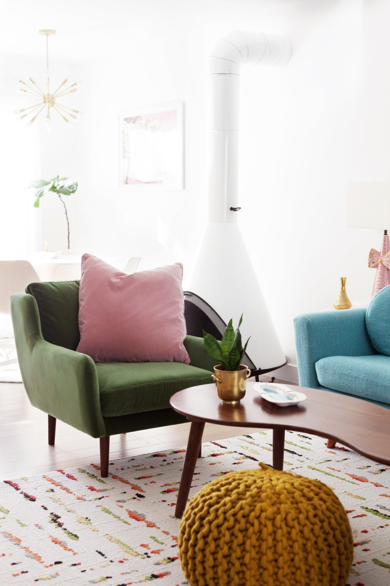 Article Matrix Chair in Grass Green with Pink Blush Lucca Pillow