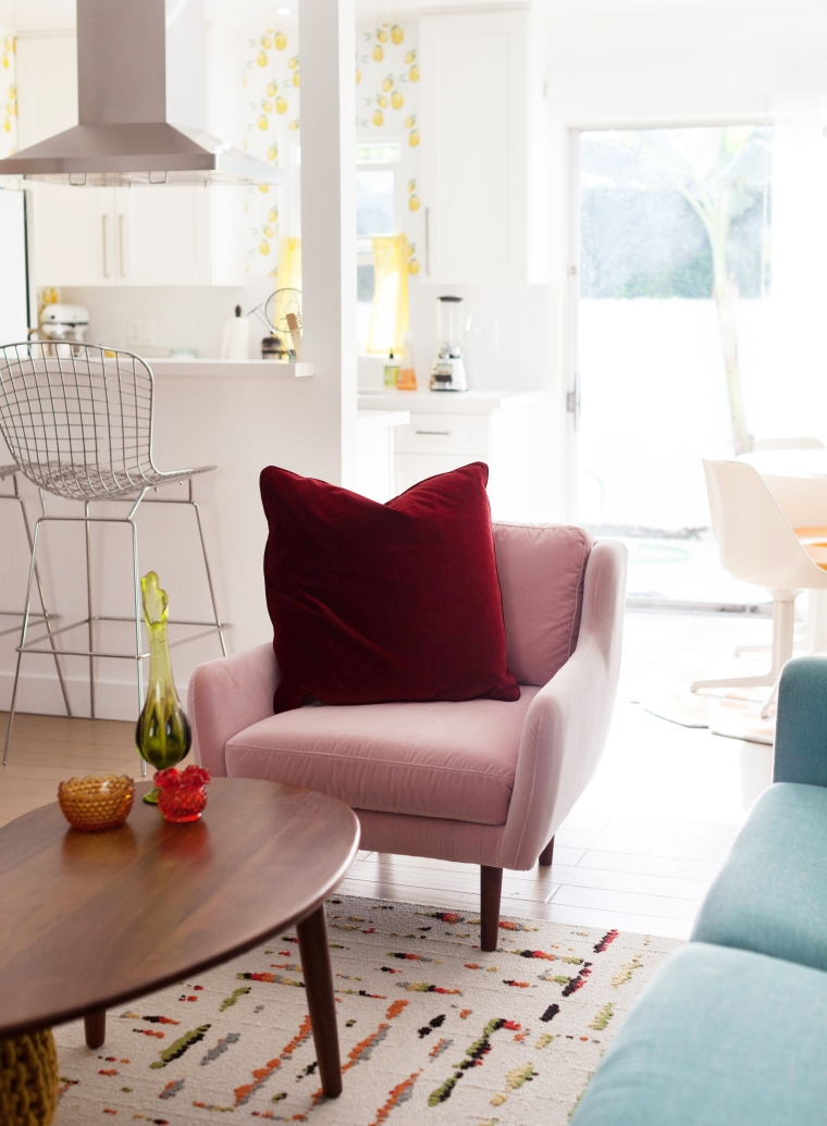 Blush Pink and Claret Red Matrix Chair and Lucca Pillow from Article