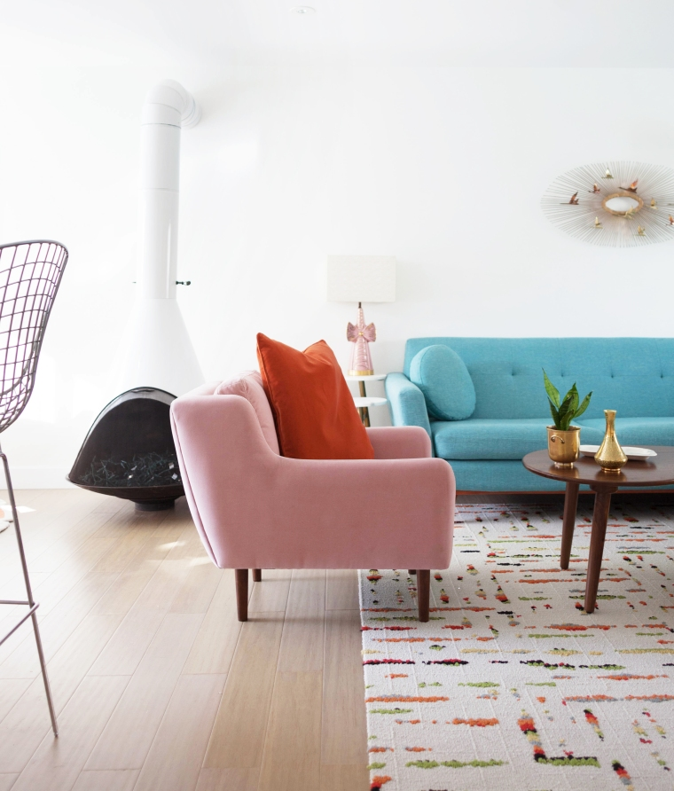Blush Pink and Orange combo. Matrix Chair from Article