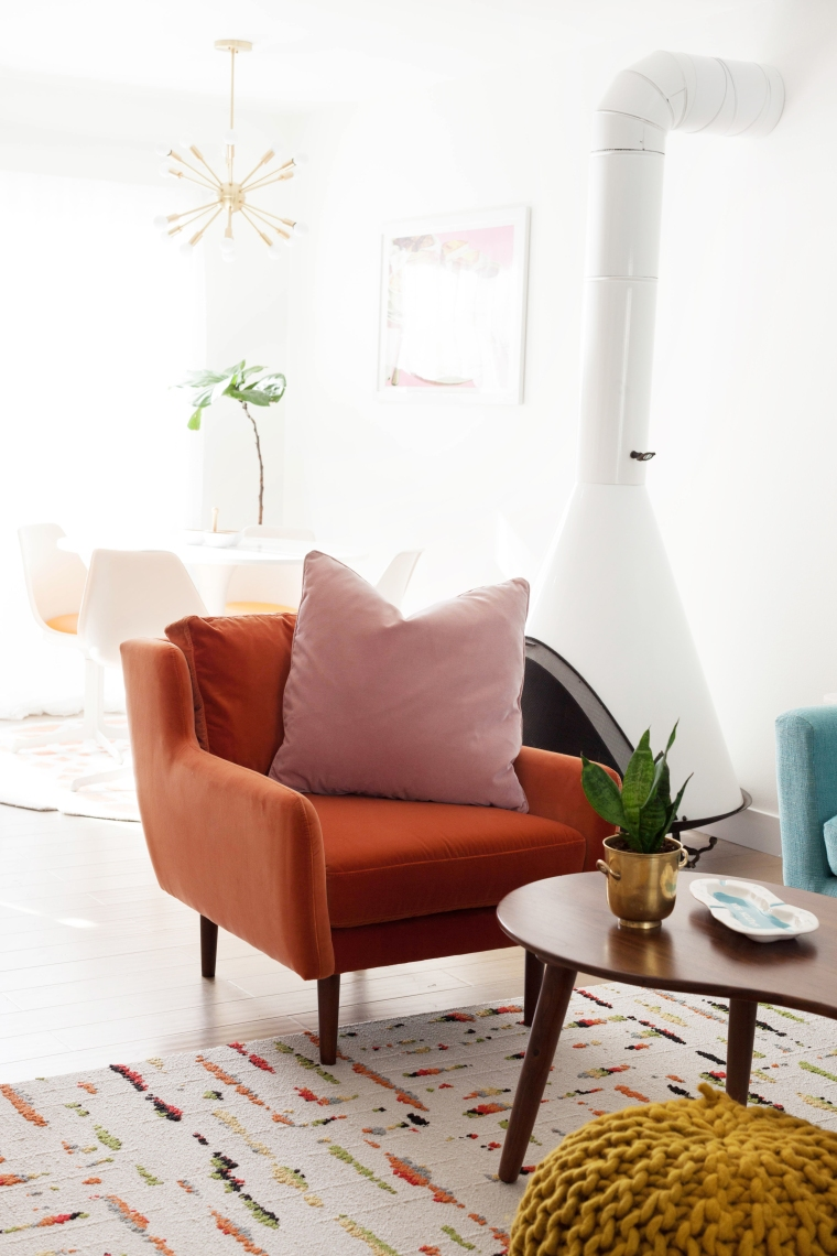 Orange and Pink combo. Matrix Chair and pillow from Article