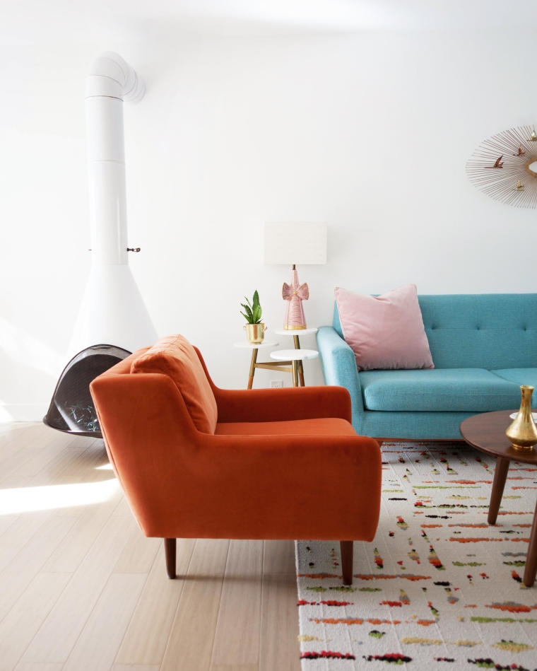 Orange Velvet Chair from Article