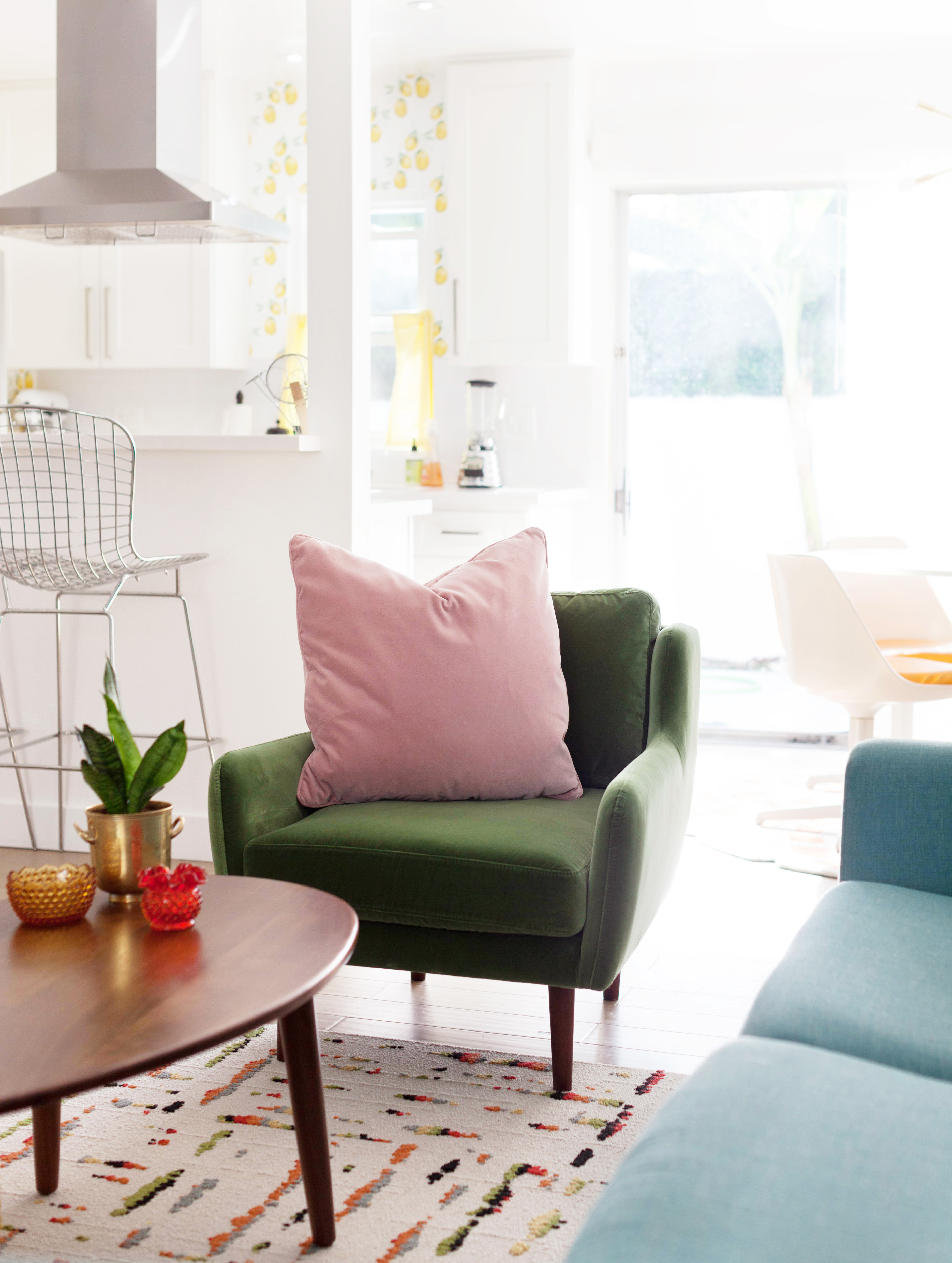 Velvet Matrix Chair From Artcle In Grass Green And Blush Pink