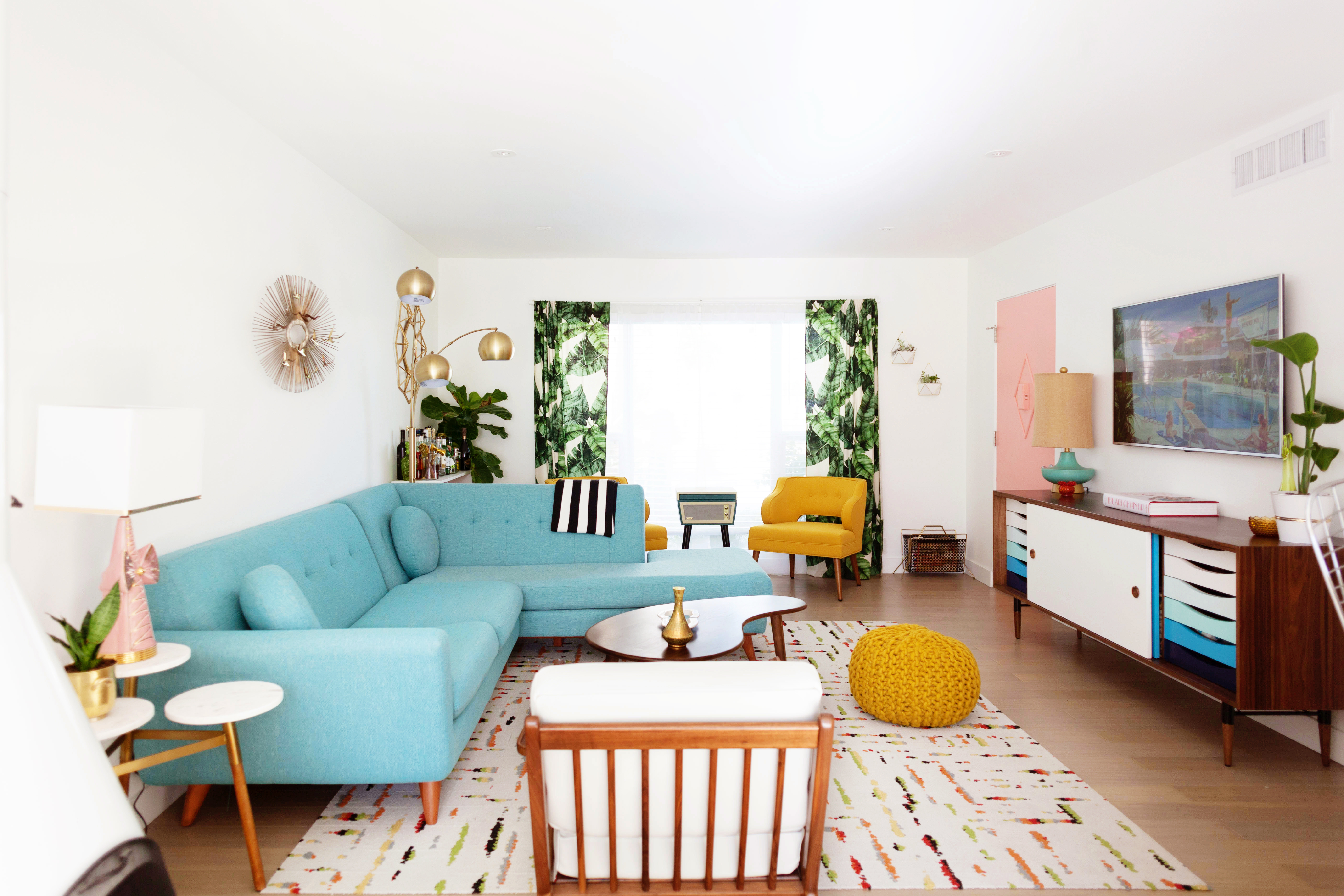 Our Mid Century Inspired Palm Springs Living Room Tour