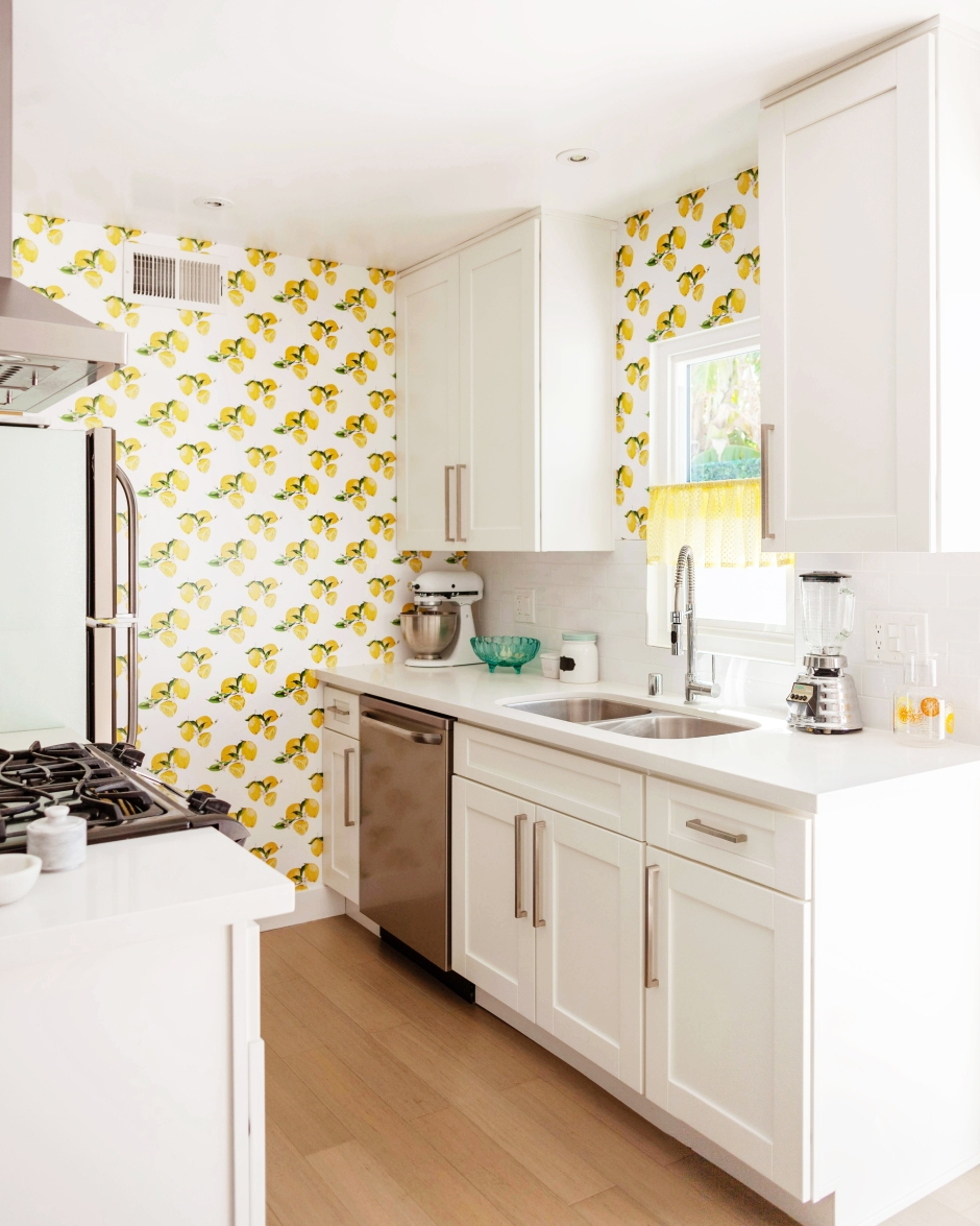 Custom Printed Lemon Peel And Stick Wallpaper From