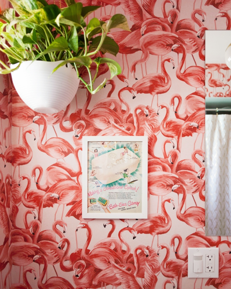 Vintage Inspired Flamingo Bathroom
