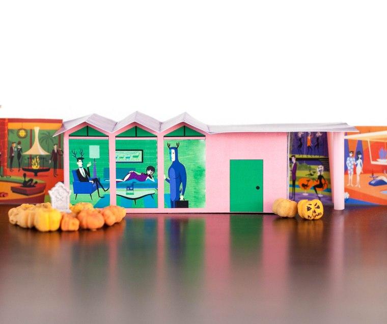 DIY Halloween Mid Century Modern Putz Houses featuring Shag