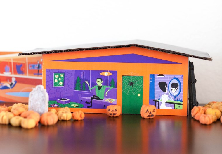 Halloween DIY Mid Mod Putz Houses featuring art by Shag