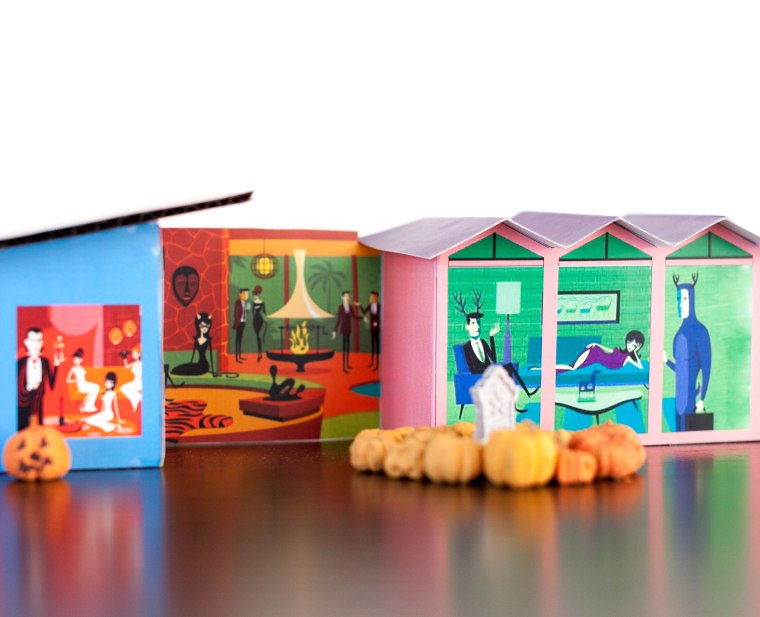Mid century Mod Putz Houses featuring Halloween artwork by Shag